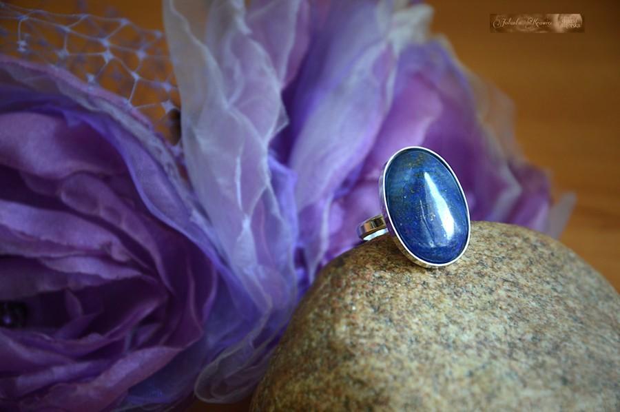 Lapis lazuli z Afganistanu  Pierścionek Srebro 925