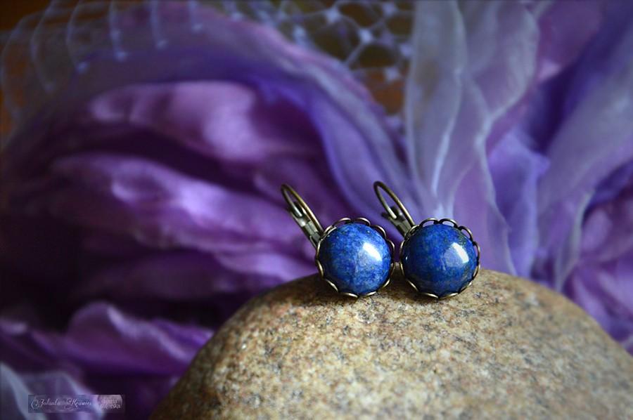 Lapis lazuli z Afganistanu  Kolczyki  Kolekcja vintage
