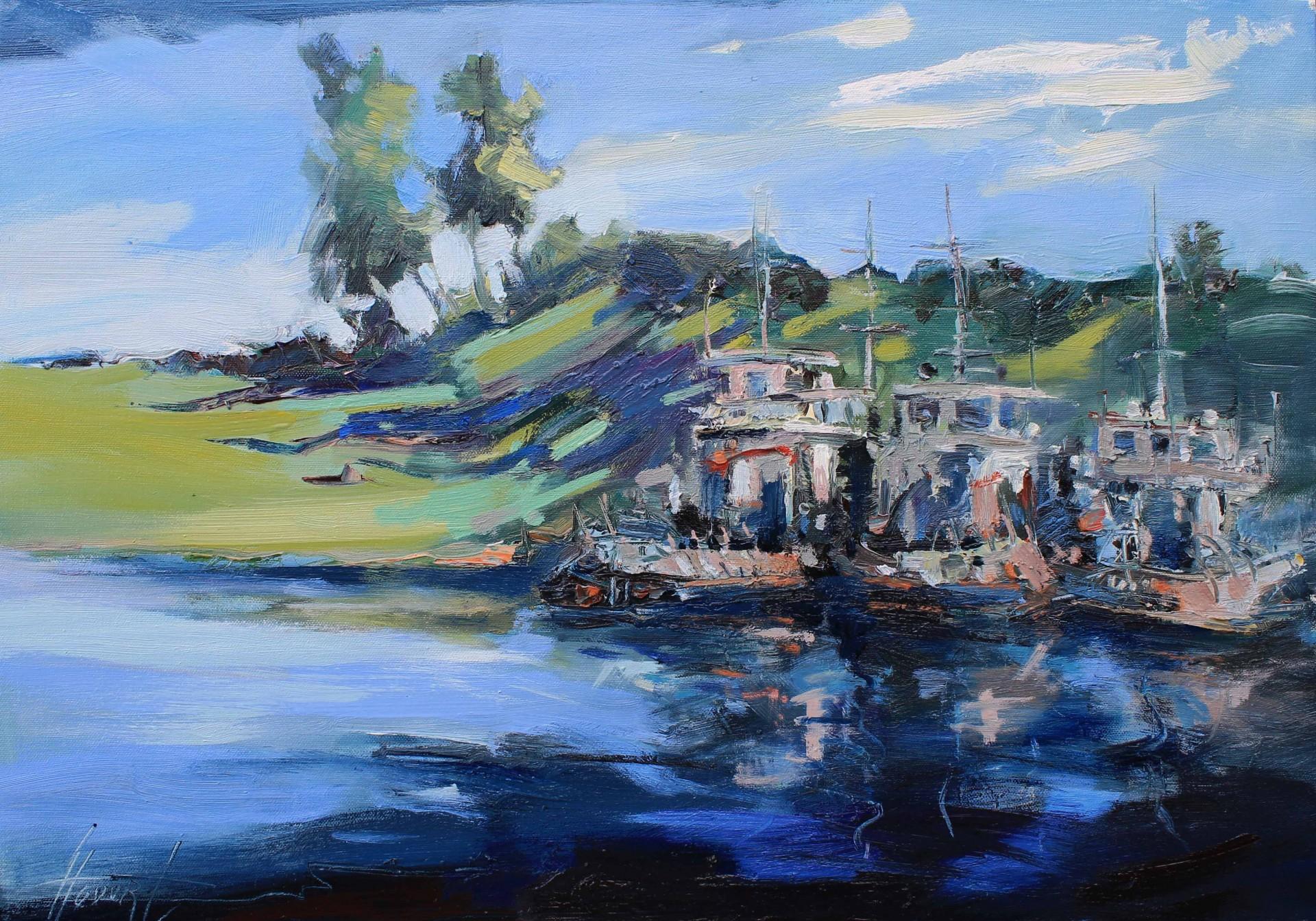 Barki na rzece. Wieczór