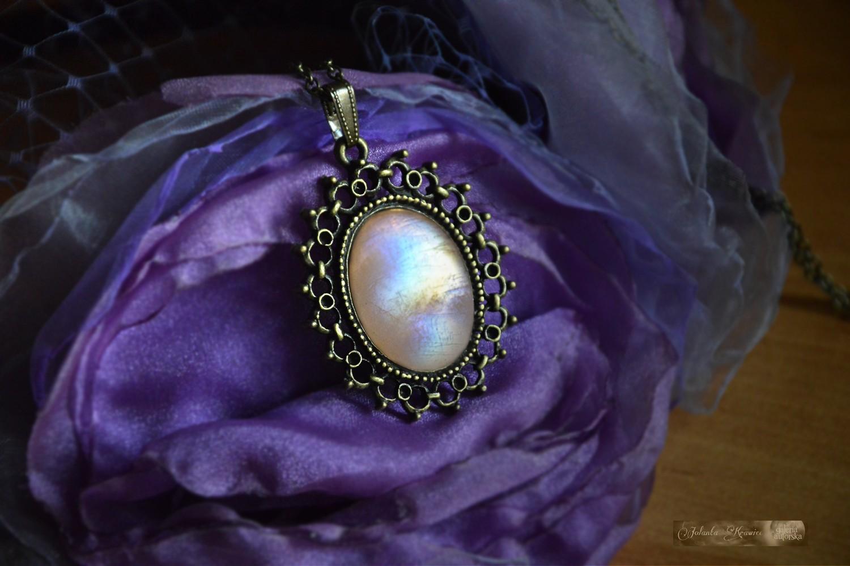 Kamień księżycowy  duży Medalion z Kolekcji vintage