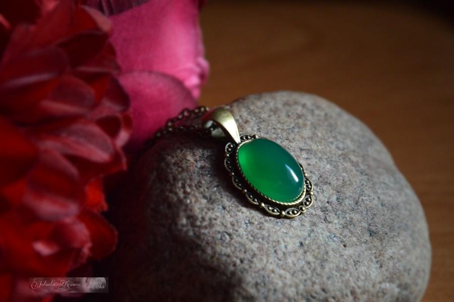 Agat brazylijski zielony Medalion z kolekcji vintage