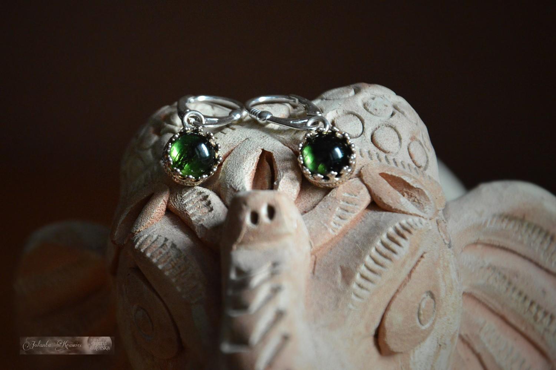 Turmalin zielony z Rosji Kolczyki  Kolekcja baśniowa Srebro 925